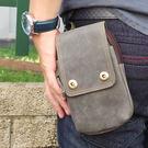 真皮手機腰包-休閒復古瘋馬皮 雙扣 雙層 手機袋 5.5吋 sony 手機包 掛包 真皮包 多功能包(深藍色)