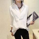 韓版新款白色襯衫女寬鬆百搭中長款長袖大碼露肩正韓國連線