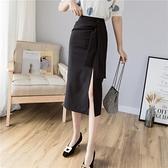 2021春夏新款半身裙中長款女a字裙西裝包臀高腰黑色開叉包裙顯瘦 黛尼時尚精品