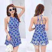 韓版連體性感修身顯瘦舒適平角裙式印花溫泉泳衣