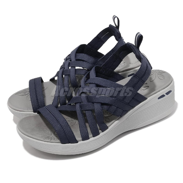 Skechers 涼拖鞋 Pier-Lite 女鞋 藍 白 厚底 增高 楔型 編織 涼鞋 【ACS】 163271NVY