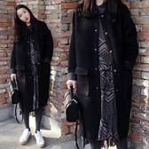 新年鉅惠刷毛外套  秋冬新品加厚呢子外套 學生立領棒球服中長款寬鬆大碼呢子大衣 東京衣櫃
