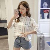 夏裝學院風寬鬆條紋上衣小清新短袖雪紡衫女洋氣襯衫
