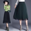 2021新款黑色網紗裙春秋季半身裙中長款女高腰a字蕾絲百褶長裙子 小艾新品