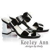 ★2019秋冬★Keeley Ann氣質名媛 一字幾何方形素面高跟拖鞋(黑色)-Ann系列