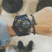 手錶吃雞同款快手紅人歐美潮流雙機芯大表盤日歷學生復古皮帶男表 卡布奇诺