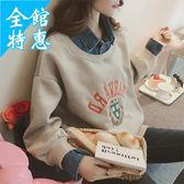假兩件上衣 冬天襯衫2018秋冬新款韓版超火加絨翻領假兩件衛衣女學生BF風套頭