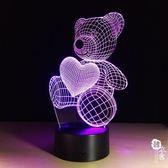 遙控燈創意插電七彩小夜燈3d led觸摸工作臺燈禮品燈136【韓衣舍】