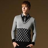長袖針織衫-簡約商務型男百搭男針織毛衣2色73ik52[時尚巴黎]