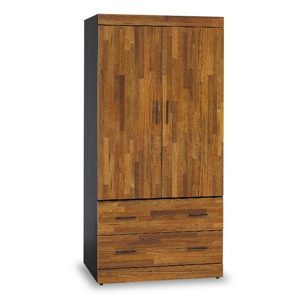 衣櫥【時尚屋】[5U7]黑色配柚木集成材耐磨3x6尺木心板衣櫃5U7-169-4136免運費/免組裝/臥室系列/衣櫥
