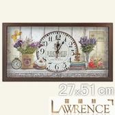 【Lawrence羅蘭絲】薰衣草木框(玻璃面板)復古時鐘(27x51cm) 鄉村歐美 壁掛掛鐘 居家佈置 裝飾畫