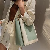洋氣單肩大包包女 2020新款潮韓版百搭斜挎包大容量撞色時尚托特包