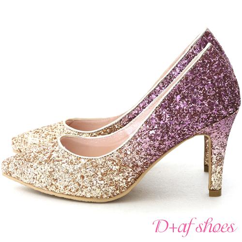 婚鞋 D+AF 星光閃耀.漸層閃料亮片水台高跟鞋*桃