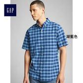 Gap男裝 舒適彈力牛津布短袖襯衫 272538-湖藍色