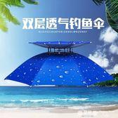 雙層防風釣魚 頭戴防曬 折疊 雨傘帽       SQ5467『樂愛居家館』
