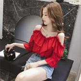 夏季 女裝新款 露肩性感V領荷葉邊上衣紅色吊帶打底小衫閨蜜學生T恤【熱銷88折】