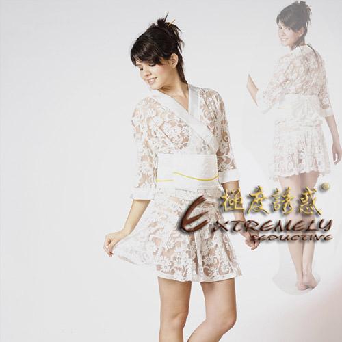 傳說情趣~【Extremely seductive】日式和服(四件組) -白色