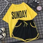休閒運動套裝女夏天2019新款時尚韓版學生寬鬆短袖短褲跑步兩件套