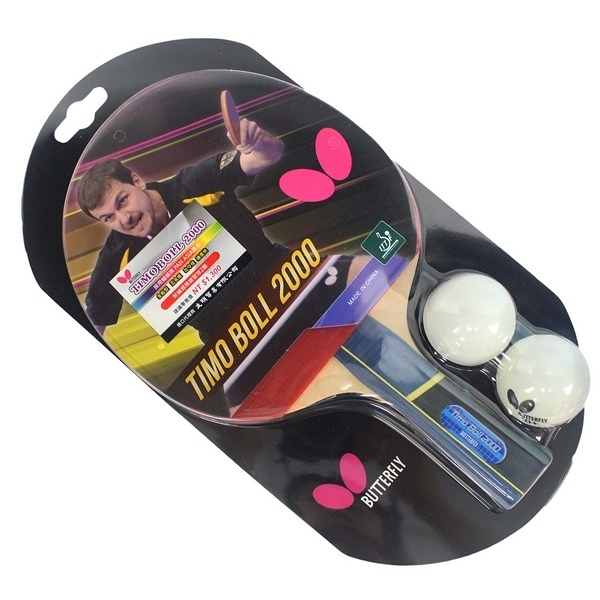Butterfly 蝴蝶牌 桌球拍Timo Boll 波爾 2000 (負手拍 刀板)/一支入(特1300) 附球2個 桌拍 乒乓球拍