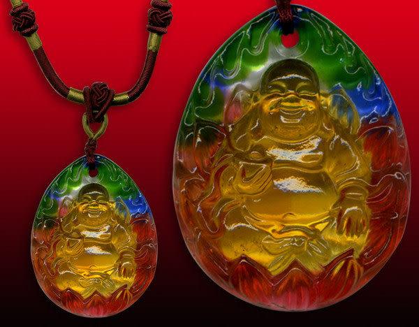 鹿港窯~居家開運水晶琉璃項鍊~歡喜彌勒佛 附精美包裝◆免運費送到家
