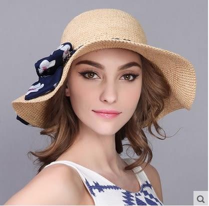 草帽防曬遮陽帽防紫外線太陽帽拉菲草大沿沙灘帽 -charle0039