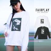 【GT】FairPlay 18S/S Ends 白 長袖T恤 休閒 純棉 印花 寬鬆 寬版 美牌 現貨 前短後長 裂口撕邊