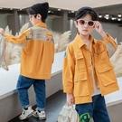 簡約印花男童外套 拼色潮流外套 男童外套韓版外套 秋季中大童百搭夾克外套 時尚休閒男童外套