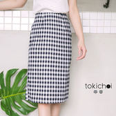 東京著衣-格紋直筒及膝裙-S.M.L(180027)