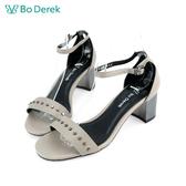 Bo Derek 一字鉚釘繫踝粗跟涼鞋-灰色