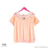 【INI】美感氣質、蕾絲領邊修身彈性針織上衣.橙色