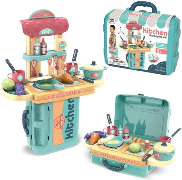 3 in 1 Kitchen Play Set 餐具手提組 藍色 TOYeGO 玩具e哥