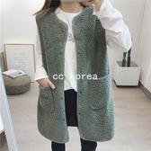 加厚單排釦毛絨絨長版麂皮背心 CC KOREA ~ Q25869