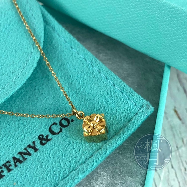 BRAND楓月 TIFFANY&CO. 蒂芬妮 K18 禮物造型 墜飾 金鍊 4.5G 項鍊 飾品 配件