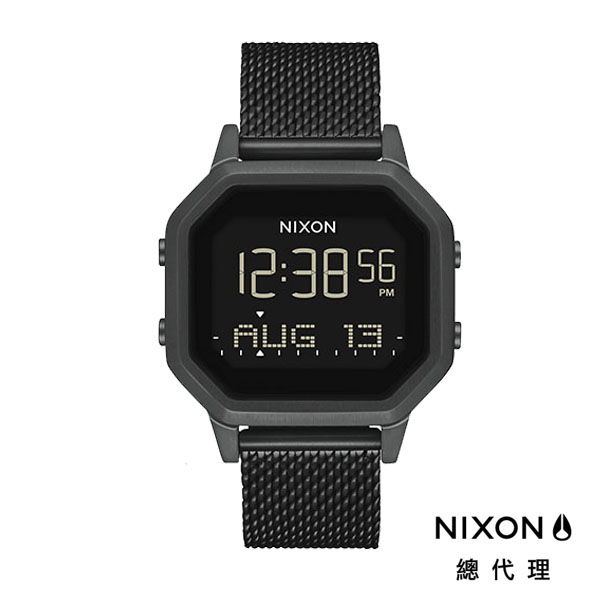 NIXON Siren Milanese 曜石黑/ 米蘭帶電子錶 A1272-001 NIXON官方直營