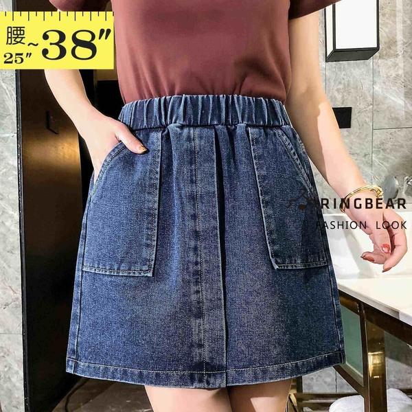 牛仔裙--清新甜美鬆緊高腰收腹斜插前袋牛仔短裙(藍M-5L)-Q116眼圈熊中大尺碼◎