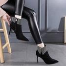 裸靴 2020秋冬季性感百搭黑色加絨顯瘦短筒尖頭高跟鞋水鉆細跟短靴女靴 降價兩天