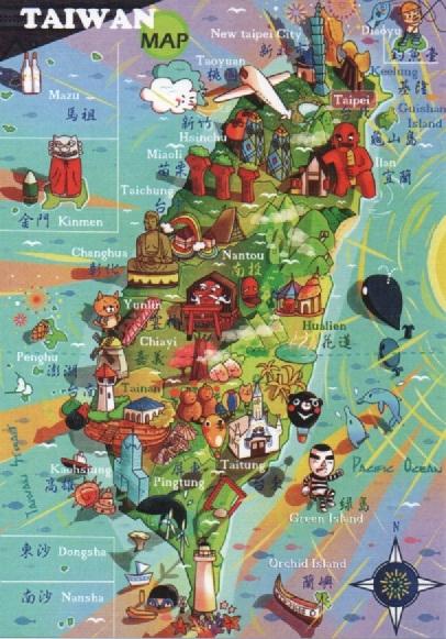 【收藏天地】台灣紀念品*明信片-Taiwan MAP/文創 手帳 文具 禮品 小物 手冊