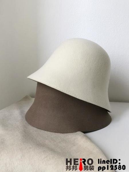 小盆帽帽子羊毛水桶帽漁夫帽女女保暖百搭復古秋冬【邦邦男装】