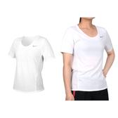 NIKE 女短袖T恤(吸濕排汗 運動 上衣 慢跑 路跑 拼接網布 免運 ≡排汗專家≡