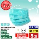 (藍眼淚) 宏瑋 雙鋼印 成人醫療口罩 50入X5盒 (台灣製造 中衛) 專品藥局 【2016895】