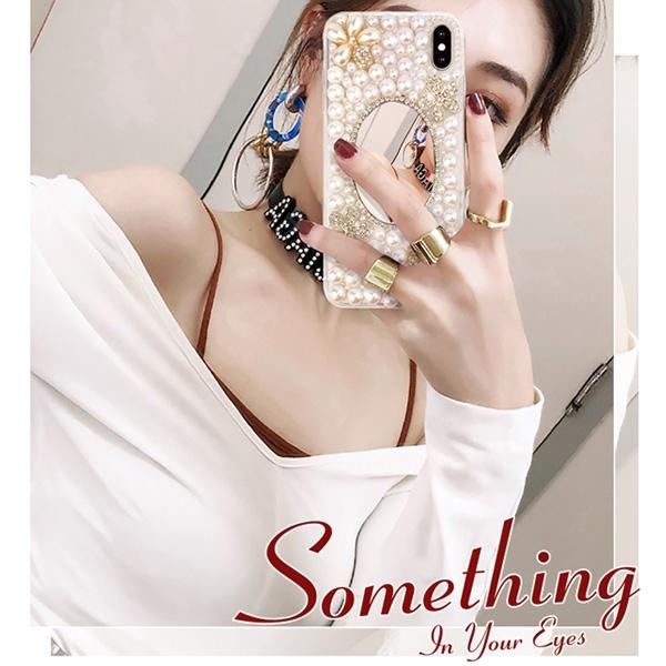 Realme X50 X7 Pro vivo X60 紅米 Note 9 Pro 小米 10 華碩 ZS670KS 珍珠花珍珠鏡 手機殼 水鑽殼 訂製