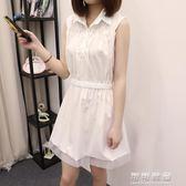 無袖雪紡高腰洋裝短款夏季女裝氣質顯瘦小個子收腰裙子 可可鞋櫃
