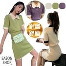 EASON SHOP(GQ0554)韓版休閒套裝撞色拼接排釦POLO領短袖針織衫鬆緊腰包臀裙短裙A字裙女彈力貼身