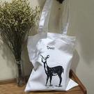 白色帆布包-開口拉鍊的-百搭趣味麋鹿側背帆布包手提包-寶來小舖-Deer09