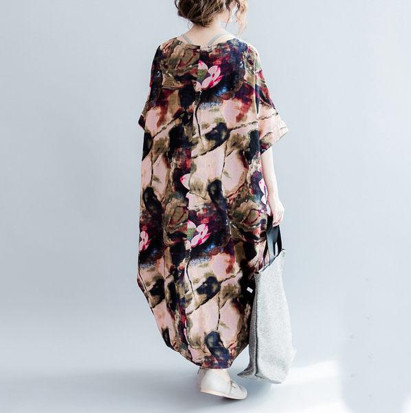 洋裝 文藝氣息舒適棉麻拼色宣染連身裙 艾爾莎【TGW5156】