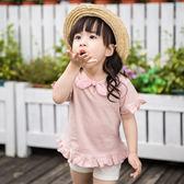 618好康鉅惠2018女嬰夏款上衣嬰兒夏裝中小童海軍錬條紋