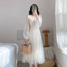 網紗洋裝夏季中長款超仙女網紗兩件套長袖V...