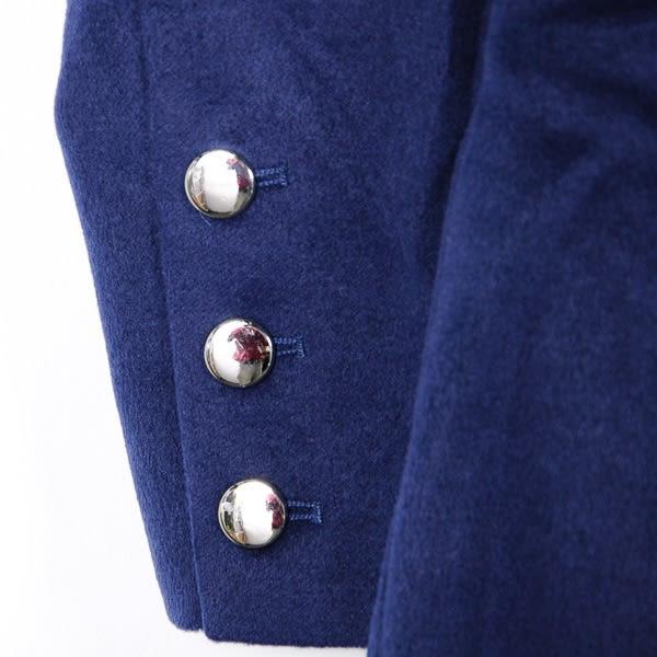 【MASTINA】排釦拼接式長大衣-深藍  外套限時特賣