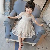 女童連身裙蕾絲公主裙兒童紗裙子蓬