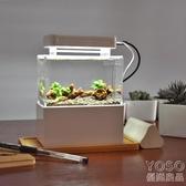 魚缸 微缸辦公室迷你小魚缸宿舍桌面小缸淡海水族箱過濾斗魚生態缸『優尚良品』YJT
